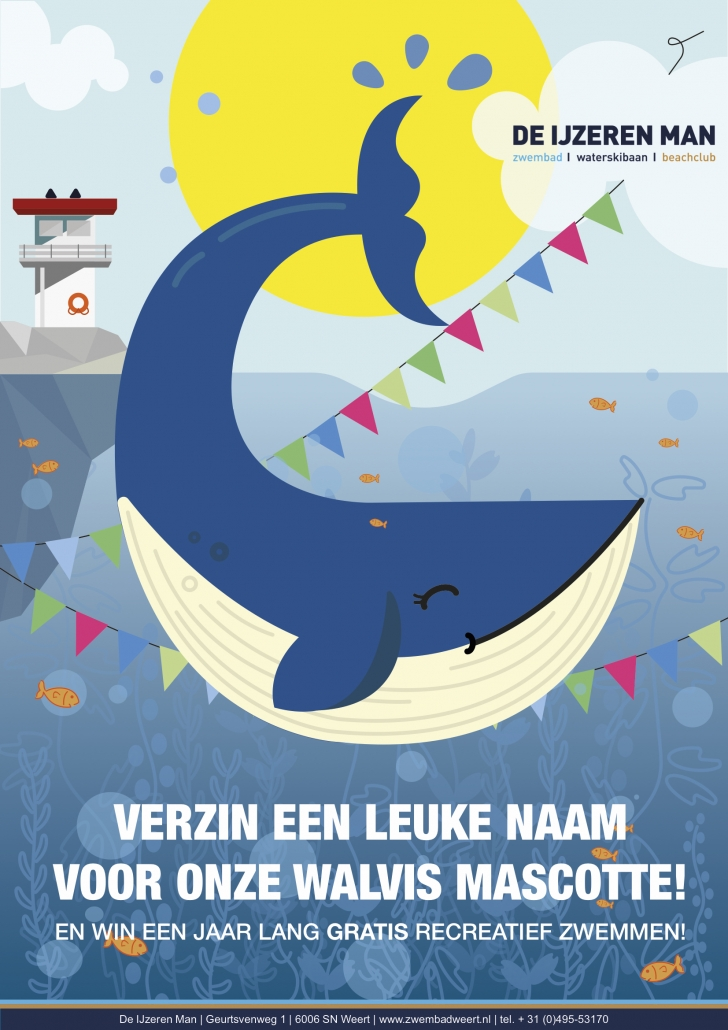 Verzin een leuke naam voor onze walvismascotte